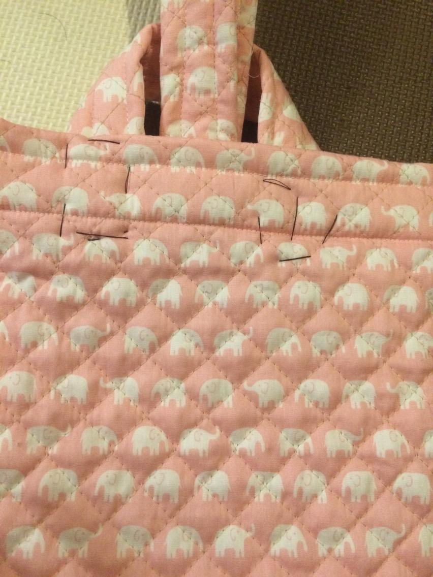 幼稚園の布かばん製作中 その2